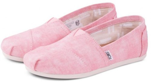 TOMS SHOES CLASSIC CORAL WASHED CANVAS 10009706